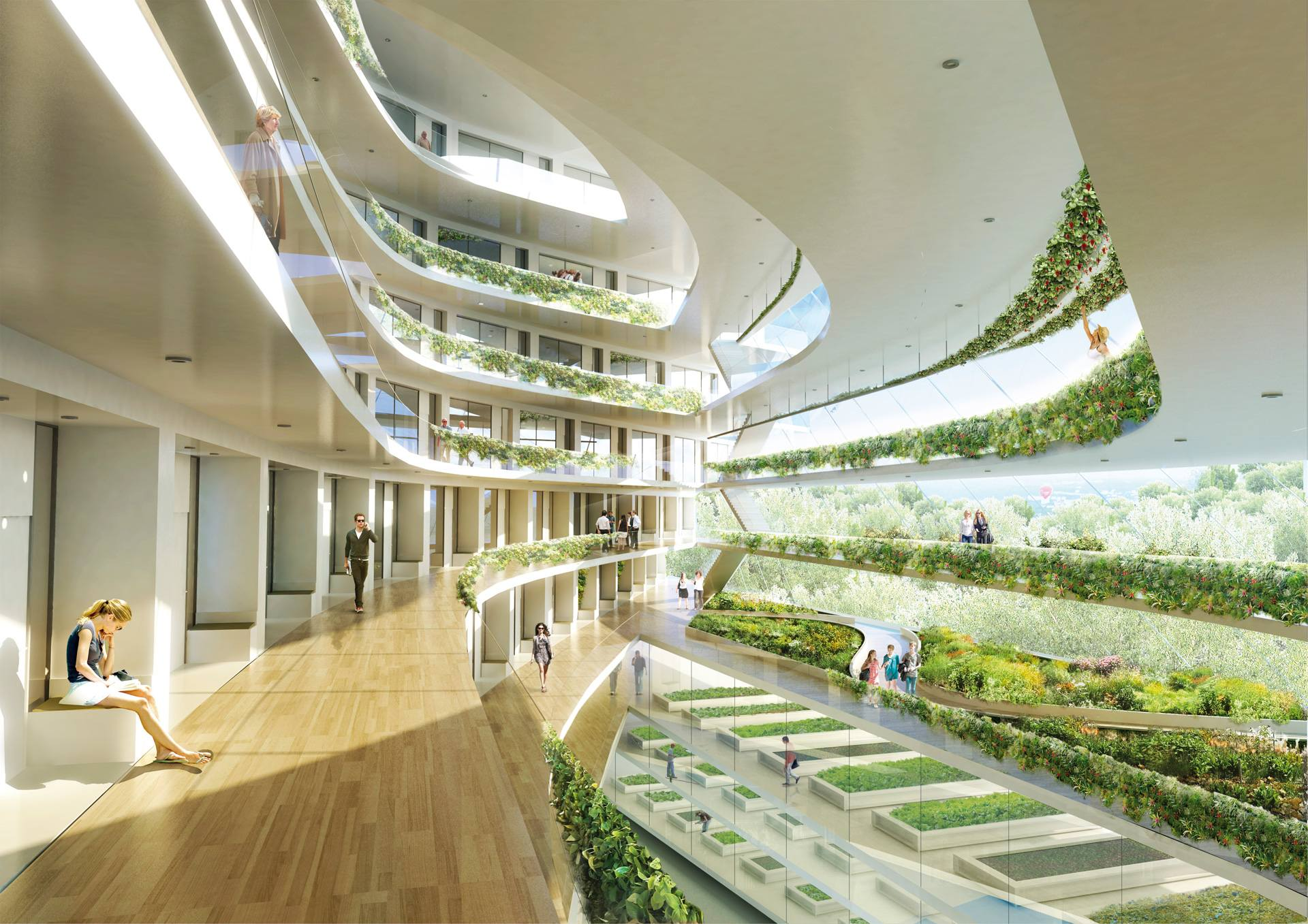 stockholm sustainable building modern interior architectural college 3xn vertical greenhouse sweden architects living exterior industrial arcs approach